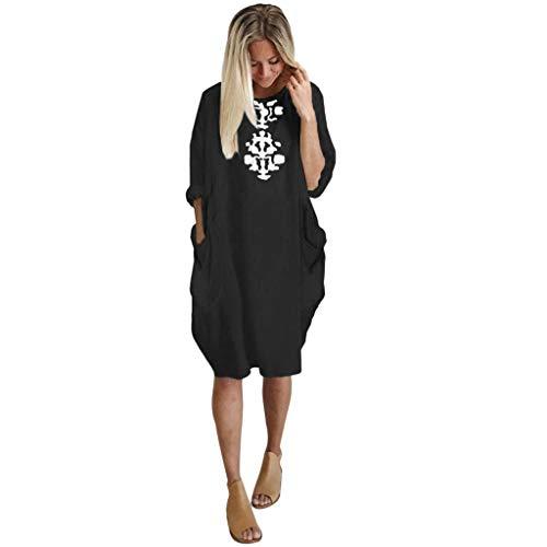 Casual Plus Size Loose Dress Women Ladies Crew Neck Long Tops Pocket Dress
