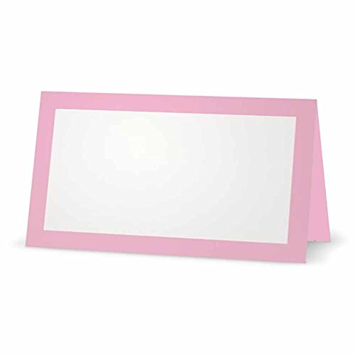 (Light Pink Place Cards - Flat or Tent Style - 10 or 50 Pack - White Blank Front Solid Color Border Placement Table Name Dinner Seat Stationery Party Supplies Occasion Event Holiday (10, Tent Style))