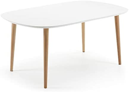 Kave Home Mesa Extensible Oqui Oval 160 (260) x 100 cm Blanco ...