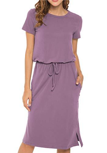 Women's Plain Solid Short Sleeve Casual Pockets Midi Dress with Belt PurpleRed S