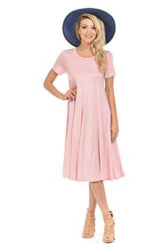 iconic luxe Women's Short Sleeve A-Line Trapeze Midi Dress Large Dusty - Trapeze Pink