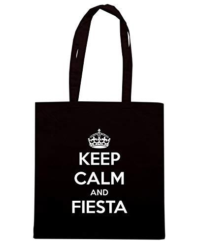Speed Shirt Borsa Shopper Nera TKC2889 KEEP CALM AND FIESTA