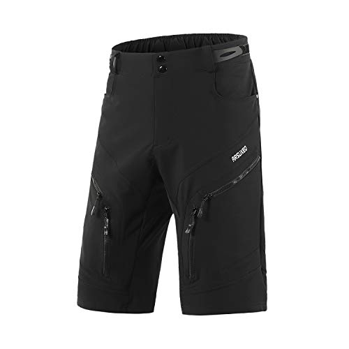 ARSUXEO Men's Loose Fit Cycling Shorts MTB Bike Shorts Water Ressistant 1903 Black Size Large (Mtb Bike Shorts)