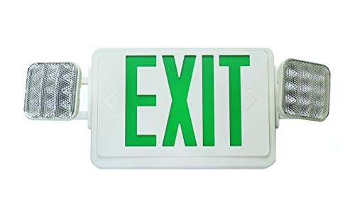 (NICOR Lighting LED Emergency Exit Sign with Dual Adjustable LED Heads, White with Green Lettering (ECL1-10-UNV-WH-G-2))