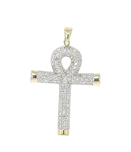 - Midwest Jewellery 10K Gold Diamond Egyptian Cross Pendant Mens or Womens Diamond Pendant 30mm