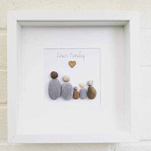 Pebble Art Picture Framed and Personalised , Family Gift , Wedding ,  Birthday