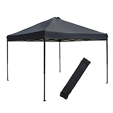 Abba Patio 10 X 10 ft Outdoor Pop Up Portable Shade Instant Folding Canopy with Roller Bag, Dark Grey