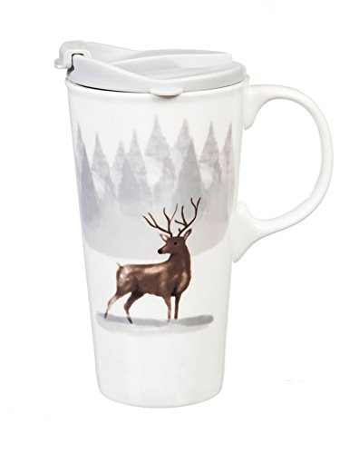 (Cypress Home Winter Wonderland Ceramic Travel Mug with Gift Box, 17 ounces)