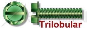 (60000PC) #10-32 X 1/4', Grounding Screw, Trilobular Thread-Rolling Screws, Hex Indented Washer, Slotted, Full Thread, Steel, Green Zinc Ships FREE in USA by Aspen Fasteners