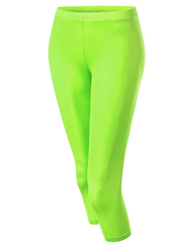 NEARKIN (NKNKW7L Beloved Womens Capri Crop Downy Yoga Tights Urbane Leggings Lime US XL(Tag Size -