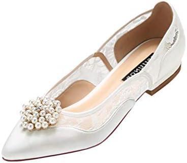 Erijunor E2419 Lace Wedding Shoes Flats Ivory Satin Pointy Toe