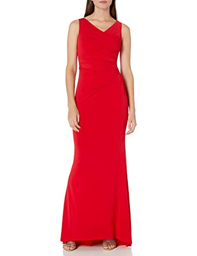 Calvin Klein Women's Sleeveless Ruched Evening Gown, Red, 4