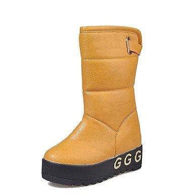 5 Nero Giallo CN37 Pu 5 Per Casual Moda Beige Donna 7 Punta US6 Inverno Piatto RTRY UK4 Stivali Stivali EU37 Tacco Tonda Scarpe 5 6wTgg