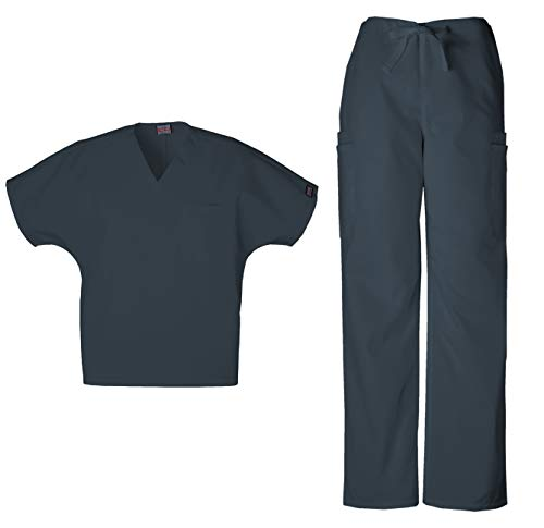 Cherokee Workwear Men's Dental/Medical Uniform Scrub Set - 4777 V-Neck Scrub Top & 4000 Drawstring Cargo Pants (Pewter - Small/Small)