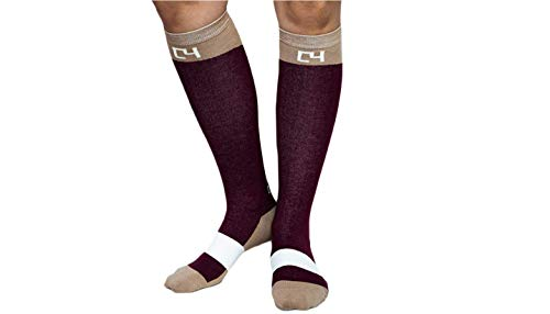 C4 Equestrian Horse Riding & Tall Boot Over the Calf Knee High Socks for Women (Maroon and Cream Riding Socks)