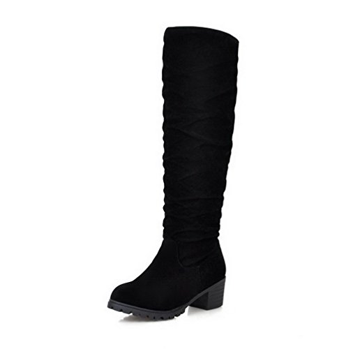 Imitated Suede Solid top on Kitten High Pull AgooLar Heels Women's Black Boots EOqZXwxE5