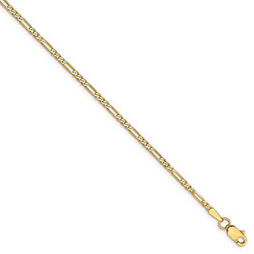 (14k Yellow Gold 1.80mm Flat Link Figaro Bracelet Chain 7 Inch Fine Jewelry Gifts For Women For Her)
