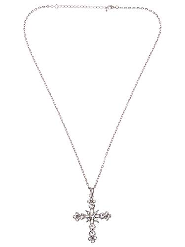 - Silver Toned Delicate Flourish Holy Cross Rhinestone Crystal Pendant Necklace