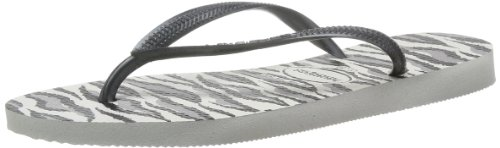 Havaianas Slim Animals Chanclas, Mujer Blanco (Weiß (white/grey 0205))