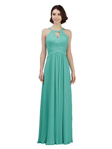 Alicepub Keyhole Neckline Chiffon Bridesmaid Dress Long Formal Evening Prom Gown, Tiffany, US14