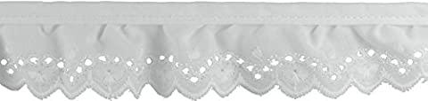 Decorative Trimmings 20310-8-018Y-001 White Ruffled Fan Embroidery Eyelet Trim 1-1/4