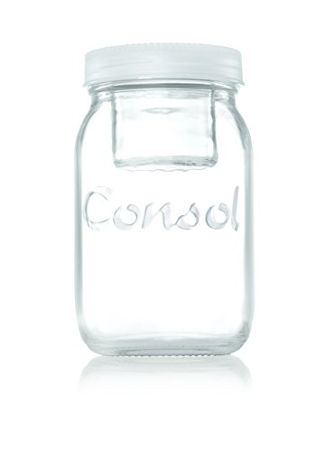 Consol 2-in-1 Classic Mason Glass Jar with a Smaller Jar Inside with One Leak Proof Lid, 34 oz., White