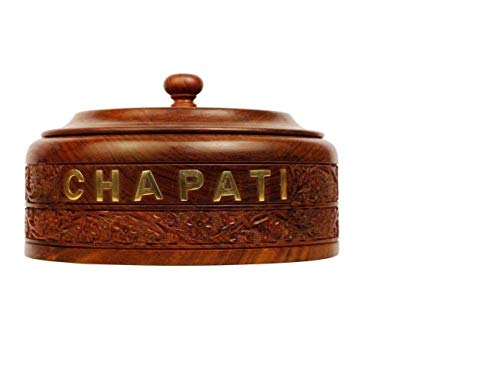 Jungle Art  Wooden Handcrafted Chapati Box Handmade Stainless Steel Bread Casserole