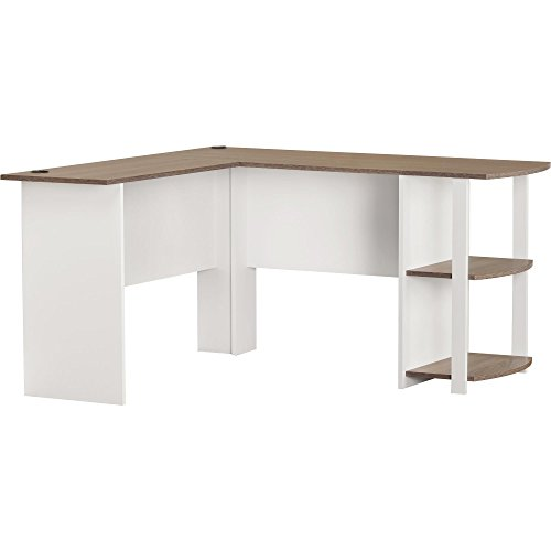 Ameriwood Home Dakota L-Shaped Desk with Bookshelves, White/Sonoma Oak (Corner White Desks)