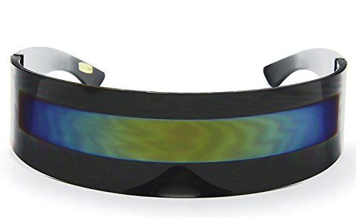 WebDeals - Futuristic Wrap Around Monoblock Cyclops Shield Sunglasses (Black Frame/Multicolor)]()