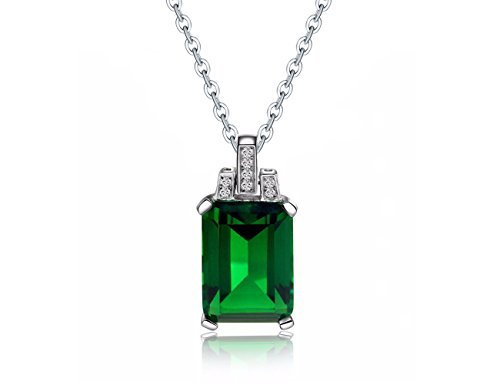 Green Man Silver Pendant - KEETEEN Colorful Life♥ Sterling Silver Necklace Simulated Gemstones Pendant Necklace for Women with Princess Cut (6.0ct Emerald)