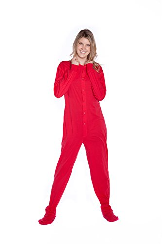Big Feet PJs Red Jersey Knit Adult Footed Pajamas No Drop Seat (L) (Red Footed Pajamas For Adults With Drop Seat)