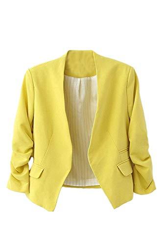 Casual Coat Giaccone Colore Cardigan Donna Alta Lunga Business Manica Unico Camicia Di Gelb Autunno Blazer Puro Elegante Qualità rXrzwqv