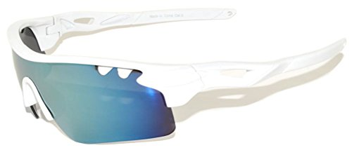 Wrap Around Mirrored Lens Sunglasses Sport Bicycle Running Outdoor White Frame OWL (Shield Lens Plastic Sunglasses)