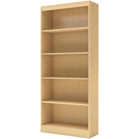Set Maple Finish (5-Shelf Bookcase, Multiple Finishes,5 Open Storage Spaces, Home Furniture, Shelving,Bookshelf,Office Furniture,Contemporary Style,Functional Shelves,Living Room Set,BONUS e-book (Natural Maple))