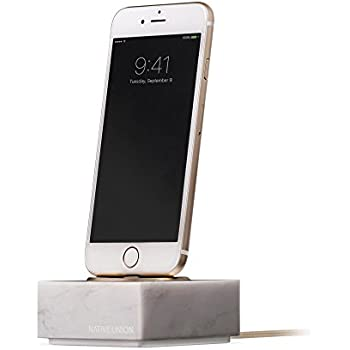 Native Union Dock+ Marble Edition - Genuine Marble Charging Dock with [Apple MFi Certified] Reinforced Lightning Cable for iPhone/iPad (White)