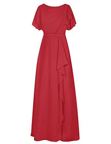 Dresstells®Vestido Largo Con Mangas O Cuello Para Fiesta Madrina Rojo Oscuro