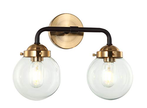 (E-Like Original Industrial Wall lamp with 2 Lights,Clear Glass Shade,E26 60W Bulb,Oiled Bronze and Satin Gold Finish,H11.4''W15.4'',Sconce for Bedroom)