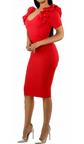 Coolred V Red Dresses Work Soft Silm Chic Short Women Sexy Flouncing Neck Sleeve Iwq7rI