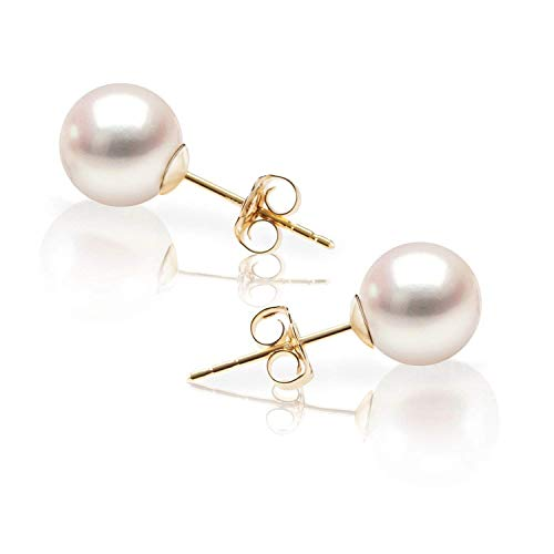 Akoya Pearl 14k Stud Earrings - PAVOI 14K Yellow Gold Japanese AKOYA
