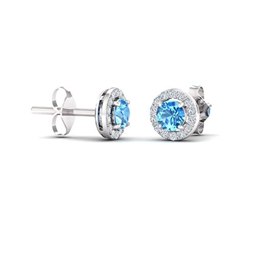 Diamondere Natural and Certified Blue Topaz and Diamond Halo Stud Earrings in 14K White Gold   0.72 Carat Earrings for Women