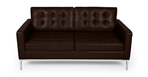 Kardiel FKL2-CHOCOBROWN Florence Knoll Style Loveseat Choco Brown Aniline Leather