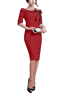 HELYO Women's 1950s Slim Half Sleeve Wear to Work Casual Office Pencil Dress 172