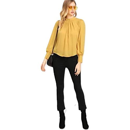31q9QX8WtYL. SS500  - Alfa Fashion Party Solid Puffy Sleeve Self Design Women's Western Casual Top
