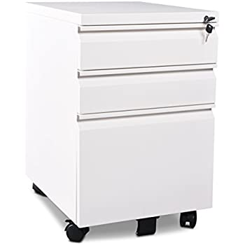 3 Drawer Metal White File Cabinet With Lock (15.7