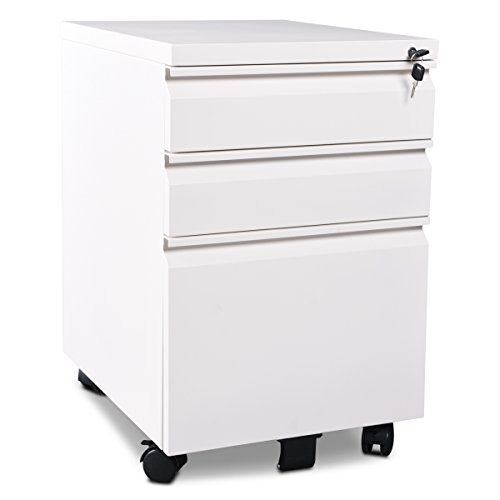 3 Drawer Metal White File Cabinet with Lock (15.7'' W x 19.7'' D x 24.6'' H) by DEVAISE
