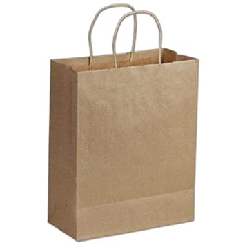 Amazon.com: Bolsa de la compra de papel kraft de 250 kraft ...