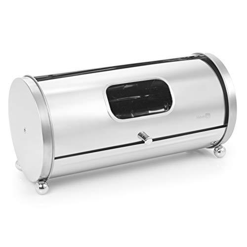 (Homiu Premium Stainless Steel Roll Top Bread Bin With Window Sleek Design )
