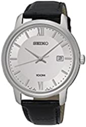 Seiko #SUR201 Men's Stainless Steel Leather Band Silver Dial Casual Dress Watch