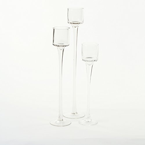 Koyal Wholesale Long Stemmed Tealight Candle Holder, Set of 3, Pedestal Tea Light Glass Candle Holders, Candle Table Runner Display for Wedding Centerpiece Table, Fall Table Centerpiece, Bridal - Mirror Tealight