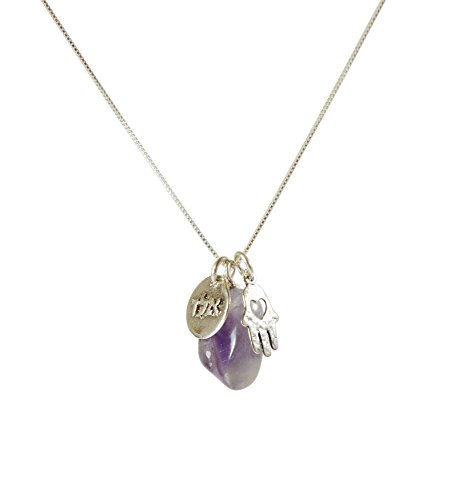 Handmade Spirituality Protection Charm Necklace with Amethyst for Men and Women